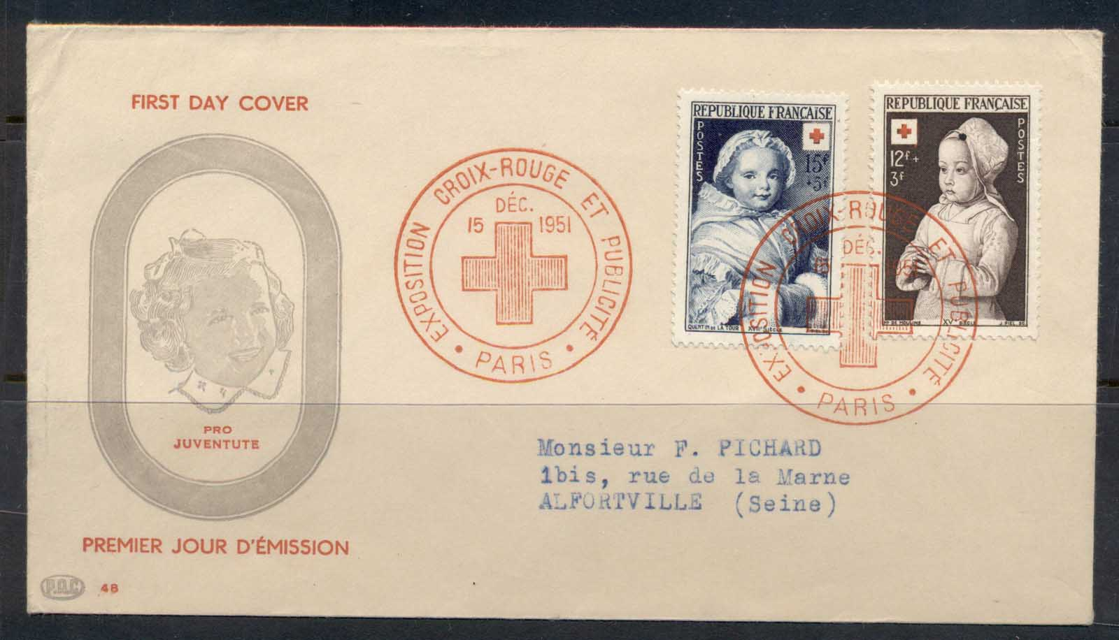 France 1951 Red Cross FDC