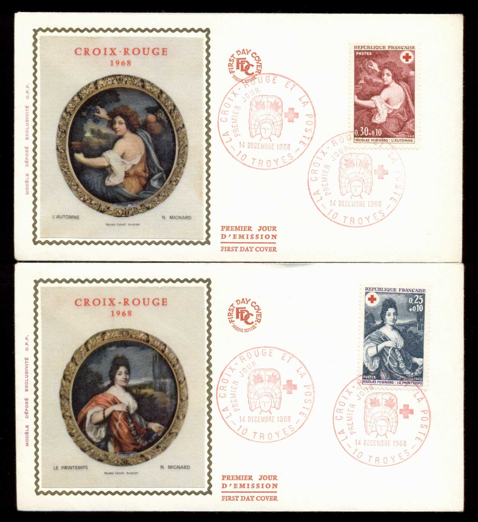 France 1968 Red Cross 2x FDC