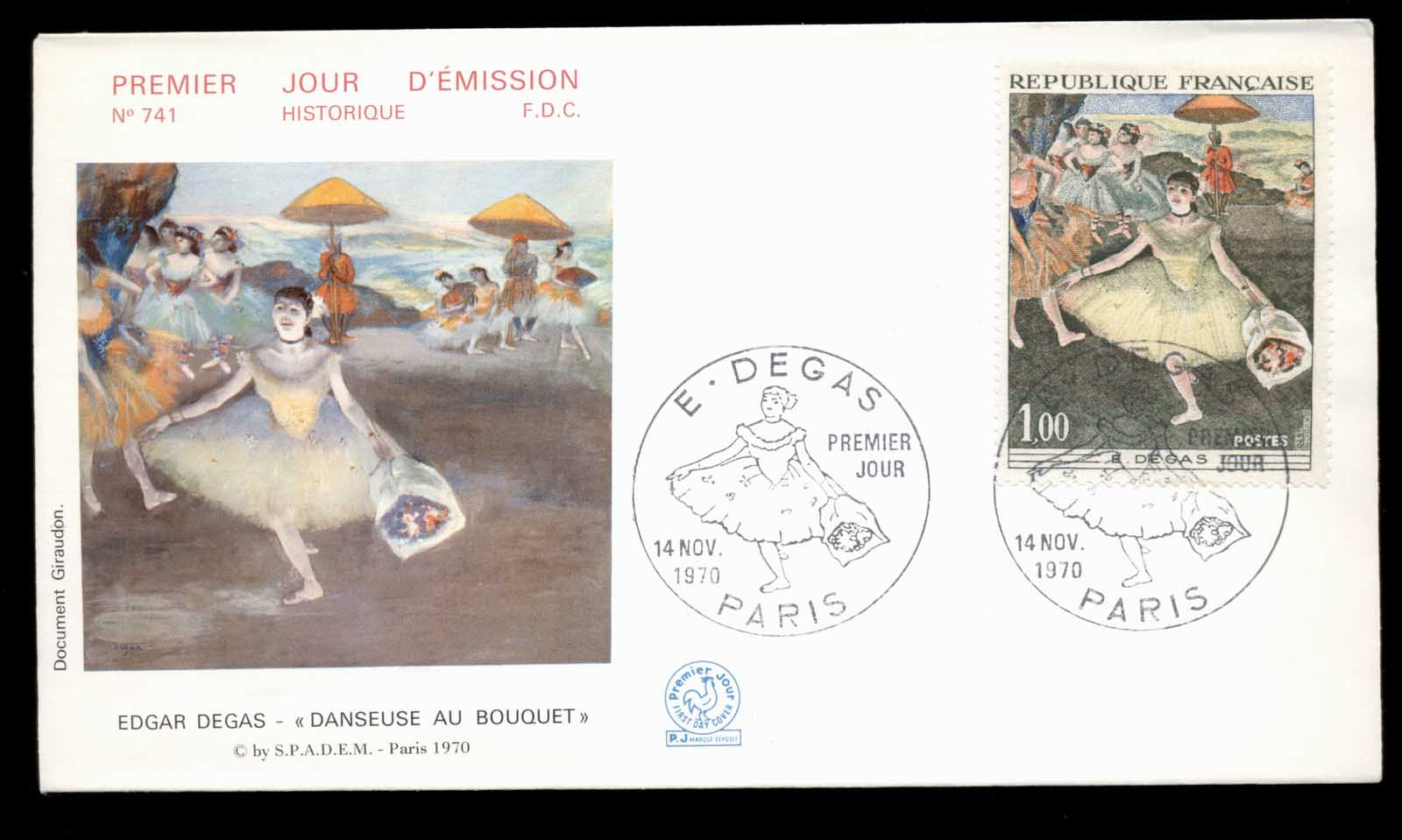 France 1970 Art, Dancer with Bouquet by Edgar Degas FDC