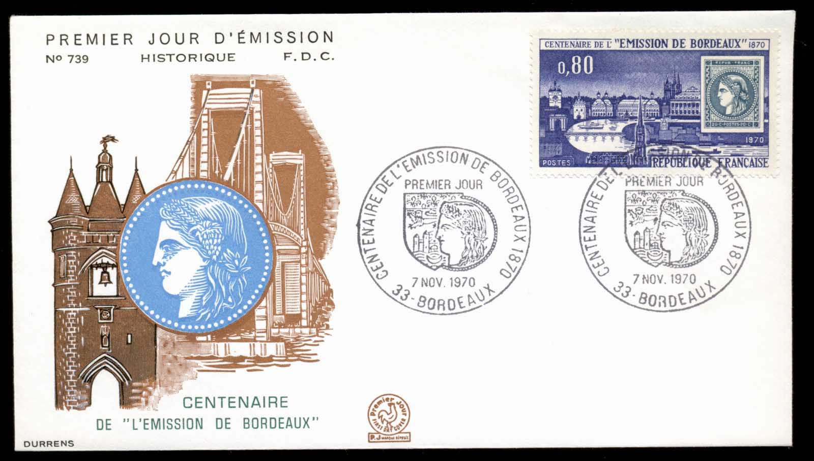 France 1970 Bordeaux Issue Cent. FDC