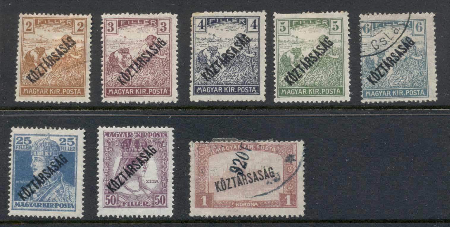 Hungary 1918-19 Republic Opts Asst MLH.FU