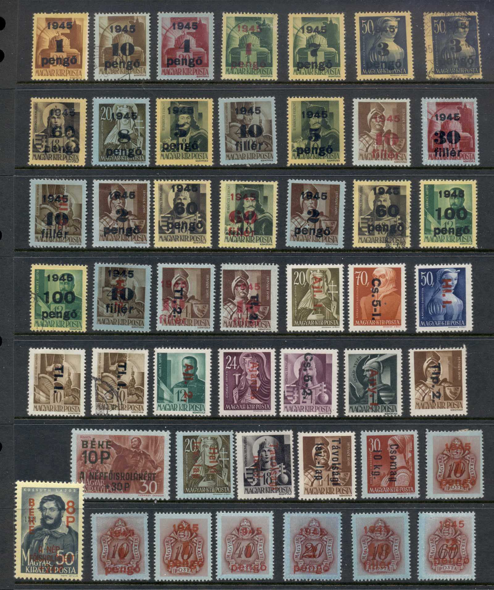 Hungary 1945-46 Surcharges Asst MLH/FU