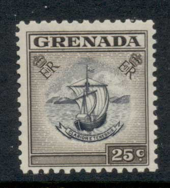 Grenada 1953-59 QEII Arms of Colony 25c MLH
