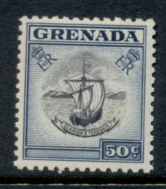 Grenada 1953-59 QEII Arms of Colony 50c MLH