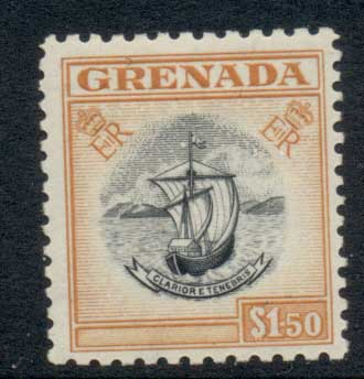 Grenada 1953-59 QEII Arms of Colony $1.50 MLH