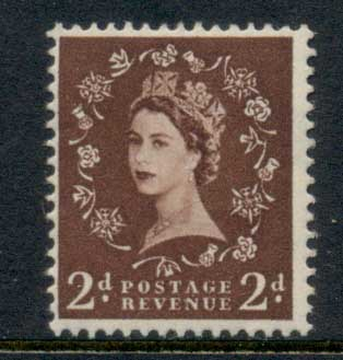 GB 1952-54 QEII Wildings, Wmk. Tudor Crown 2d MLH