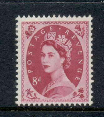 GB 1952-54 QEII Wildings, Wmk. Tudor Crown 8d MLH