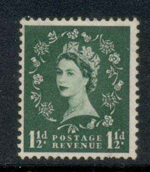 GB 1955-57 QEII Wildings, Wmk. St. Edwards Crown 1.5d MLH