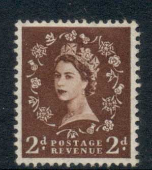 GB 1955-57 QEII Wildings, Wmk. St. Edwards Crown 2d red brown FU