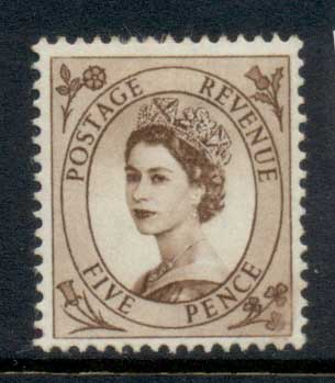 GB 1955-57 QEII Wildings, Wmk. St. Edwards Crown 5d MLH