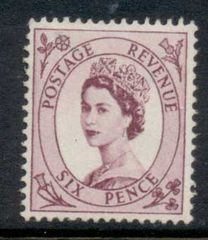 GB 1955-57 QEII Wildings, Wmk. St. Edwards Crown 6d reddish purple MLH