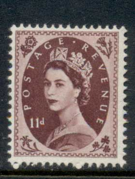 GB 1955-57 QEII Wildings, Wmk. St. Edwards Crown 11d MLH