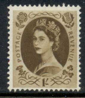 GB 1955-57 QEII Wildings, Wmk. St. Edwards Crown 1/- MLH