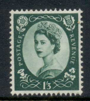 GB 1955-57 QEII Wildings, Wmk. St. Edwards Crown 1/3d MLH