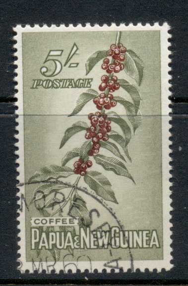 PNG 1958-60 Pictorial 5/- Coffee FU