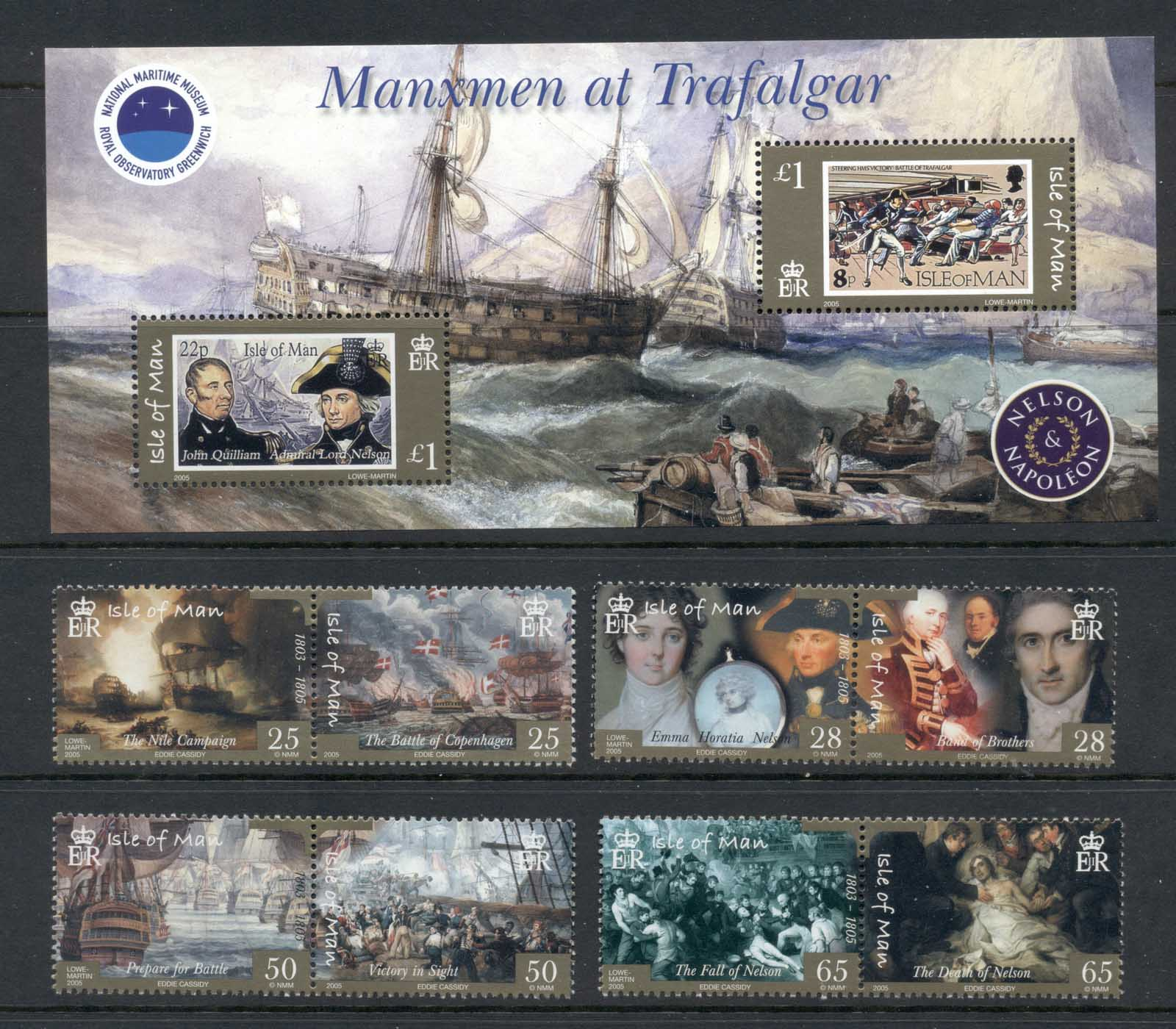 Isle of Man 2005 Battle of Trafalgar Bicentenary, Nelson + MS MUH