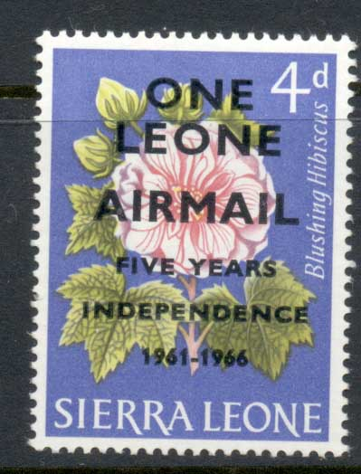 Sierra Leone 1966 Flowers Independence Surch 1le on 4d MUH