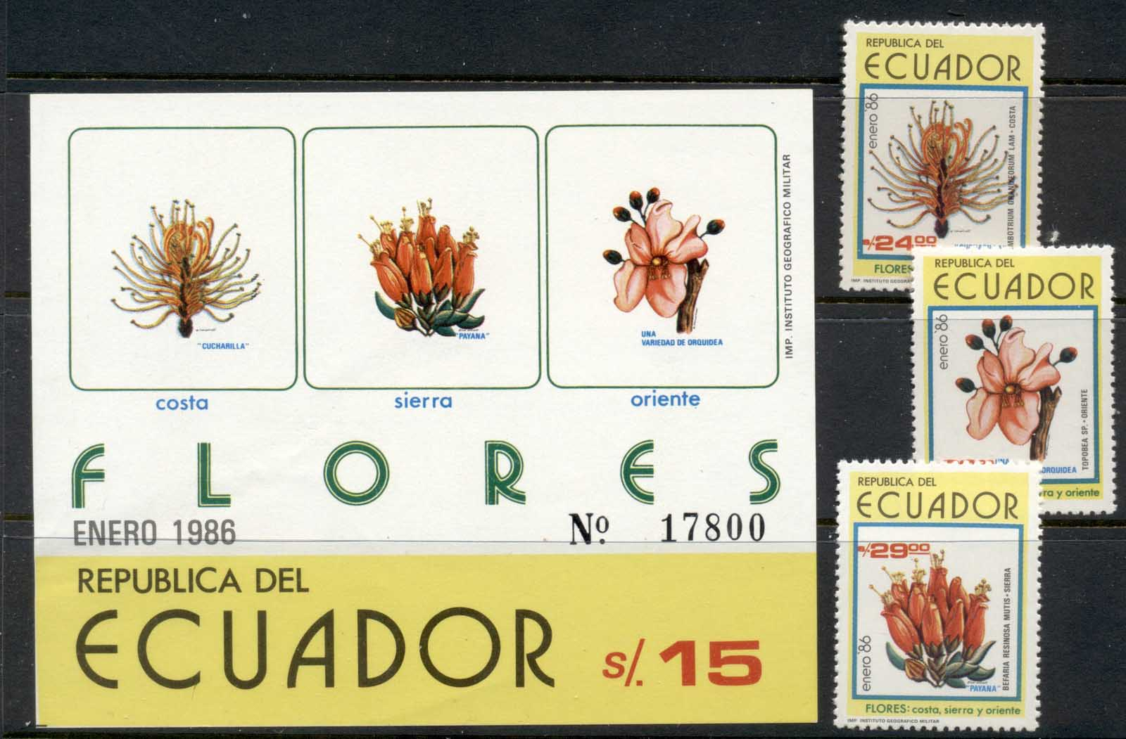Ecuador 1986 Indigenous Flowers + MS MUH
