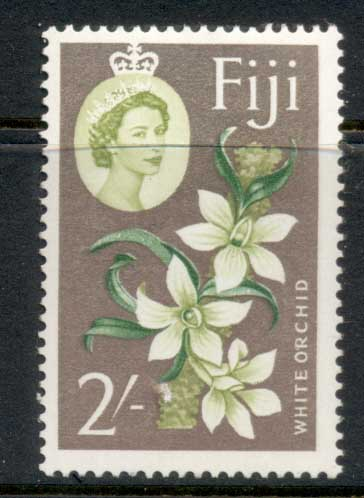 Fiji 1959-63 QEII Pictorial, White Orchid 2/- MUH