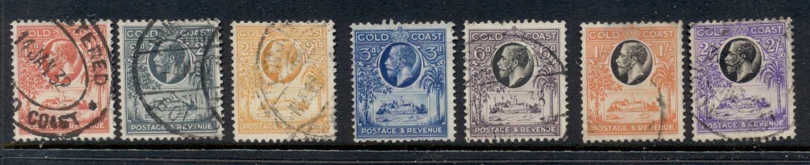 Gold Coast KGV Pictorials, Christianborg Castle Asst (faults, 1/- hinge thin) FU
