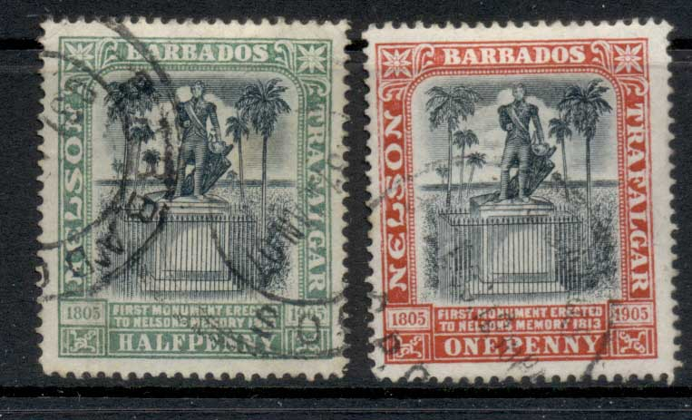 Barbados 1906 Lord Nelson Monument 0.5, 1d FU