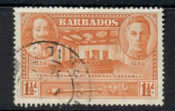 Barbados 1939 Tercentenary of General Assembly 1.5d FU