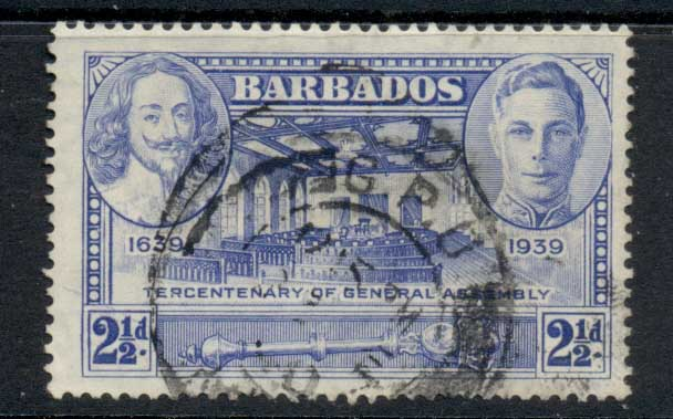 Barbados 1939 Tercentenary of General Assembly 2.5d FU