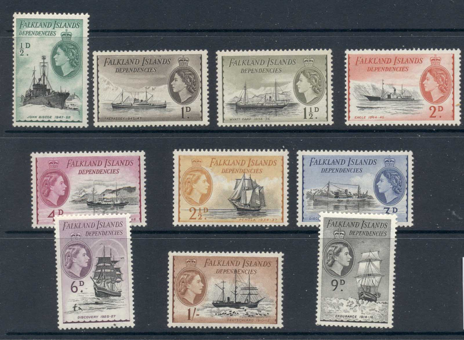 Falkland Is Deps. 1954 QEII Pictorials, Ships to 1/- MUH