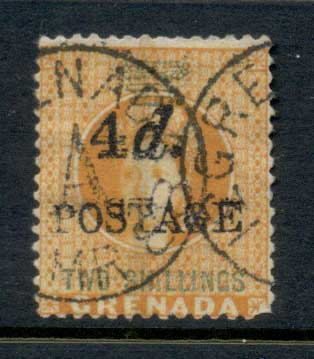 Grenada 1888-91 Surcharge 4d POSTAGE on Two Shillings FU