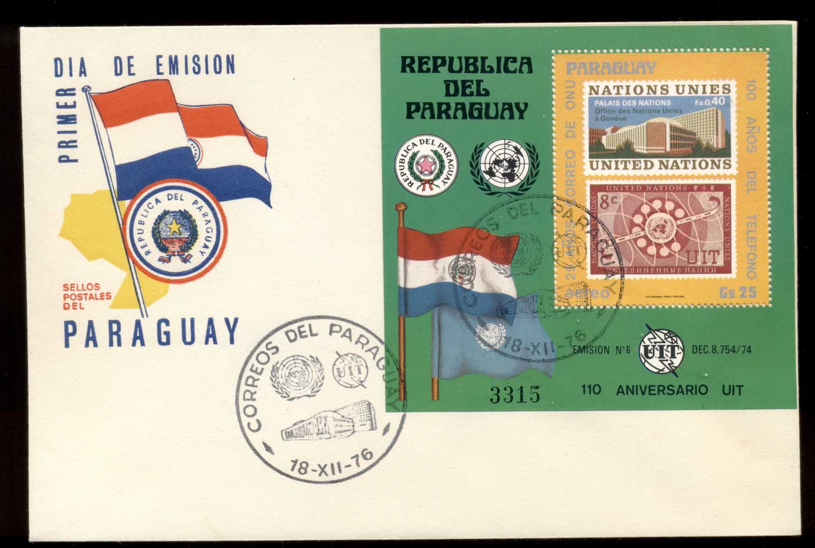 Paraguay 1976 Telephone Centenary, Alexander Graham Bell MS FDC