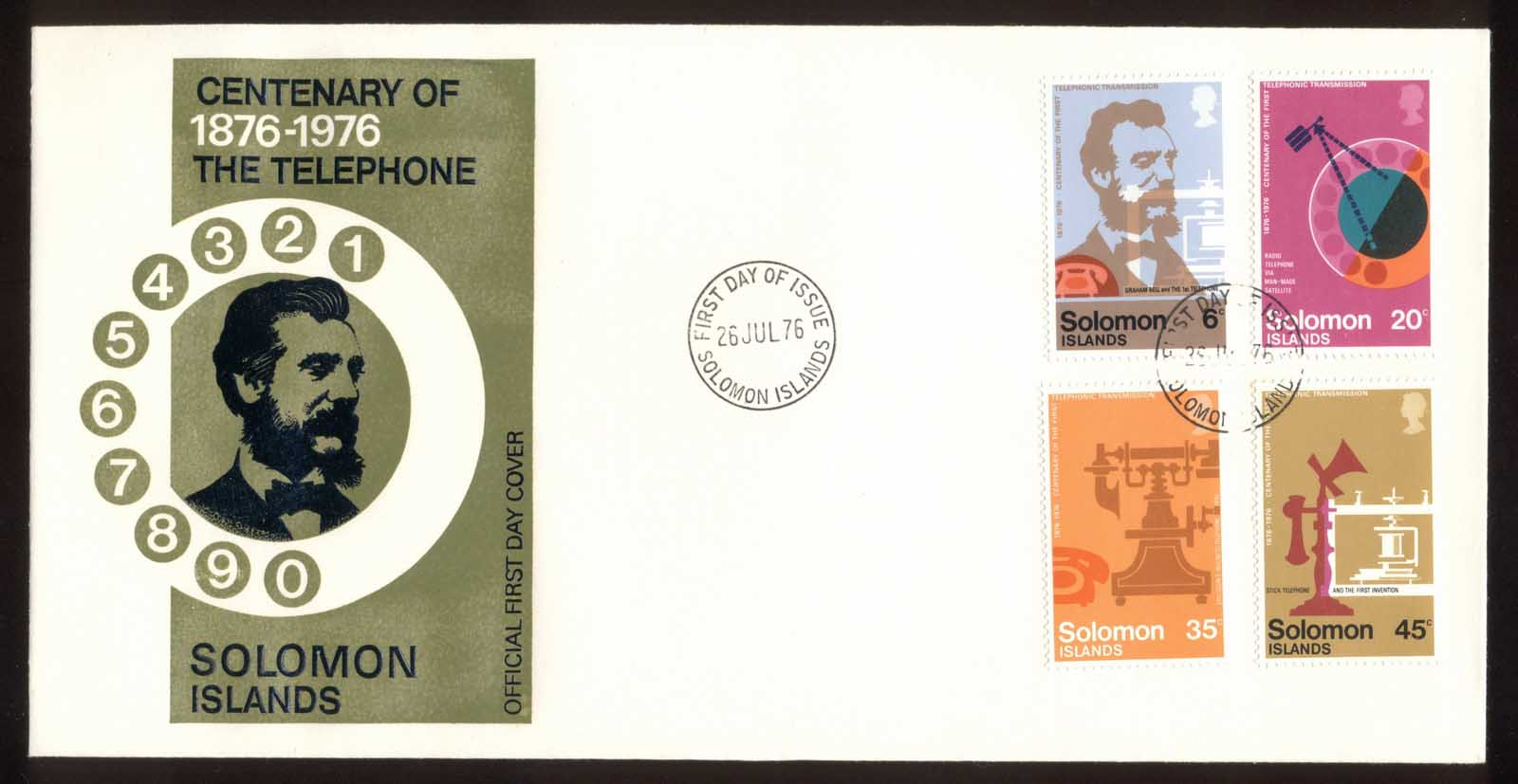 Solomon Is 1976 Telephone Centenary, Alexander Graham Bell FDC