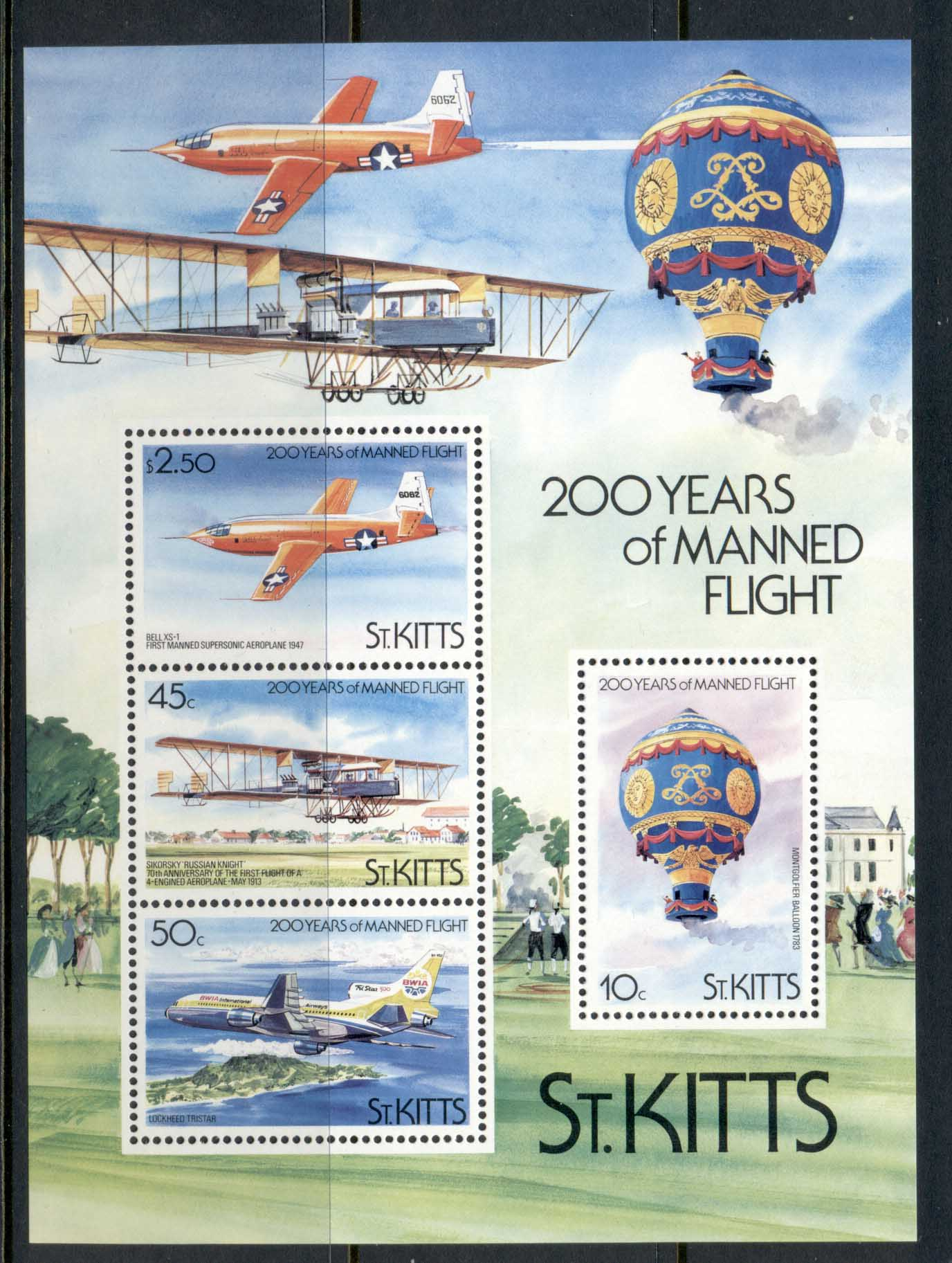 St Kitts 1983 Manned Flight Bicentenary MS MUH