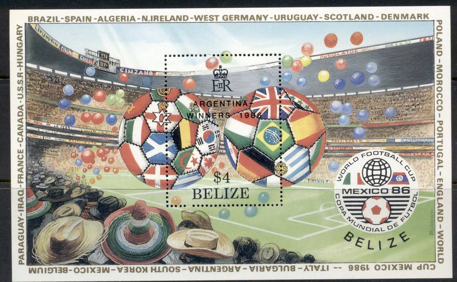 Belize 1986 World Cup Soccer Opt. Argentina Winners MS MUH