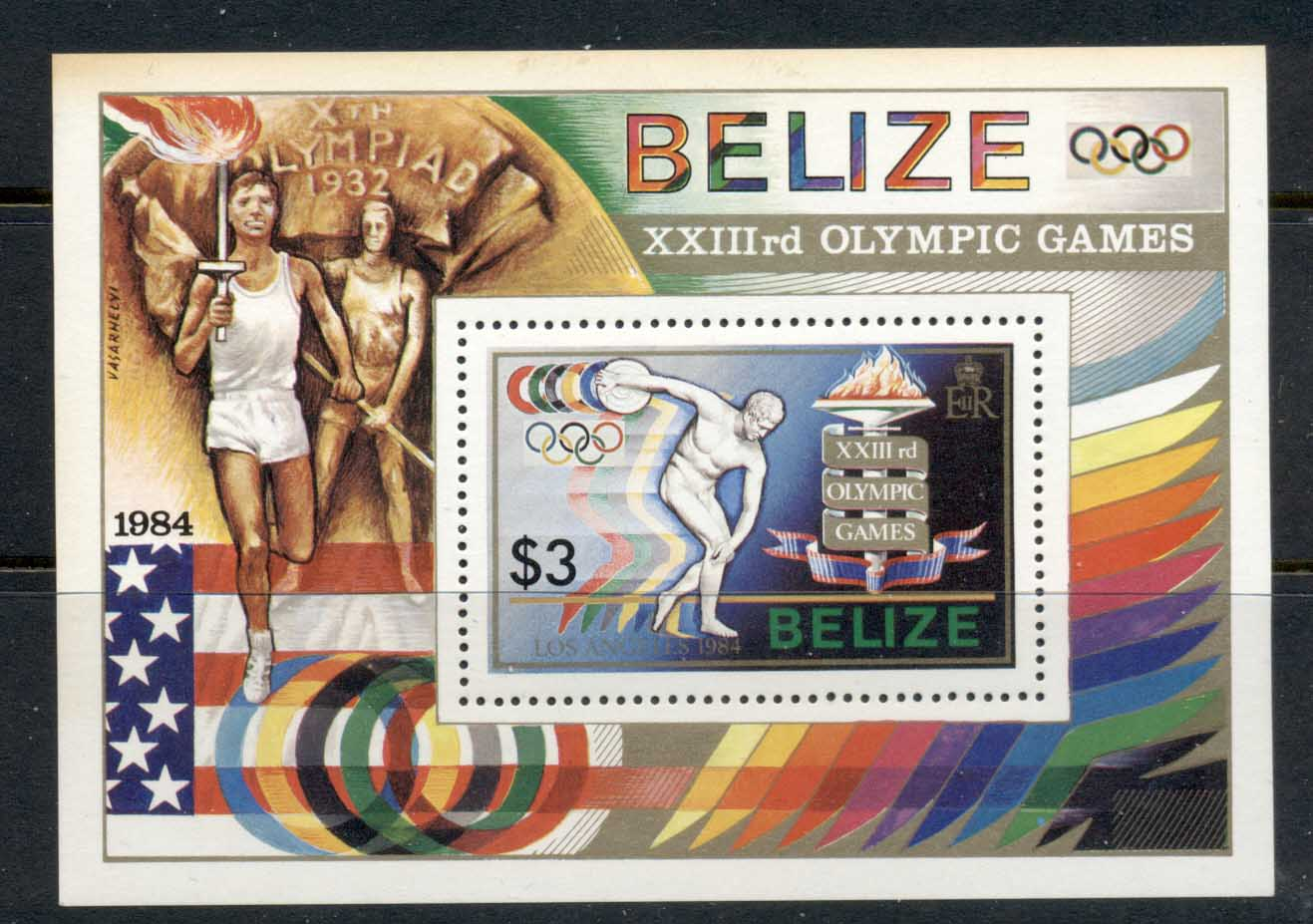 Belize 1984 Summer Olympics Los Angeles MS MUH