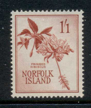 Norfolk Is 1960-62 Fringed Hibiscus 1/1d MUH