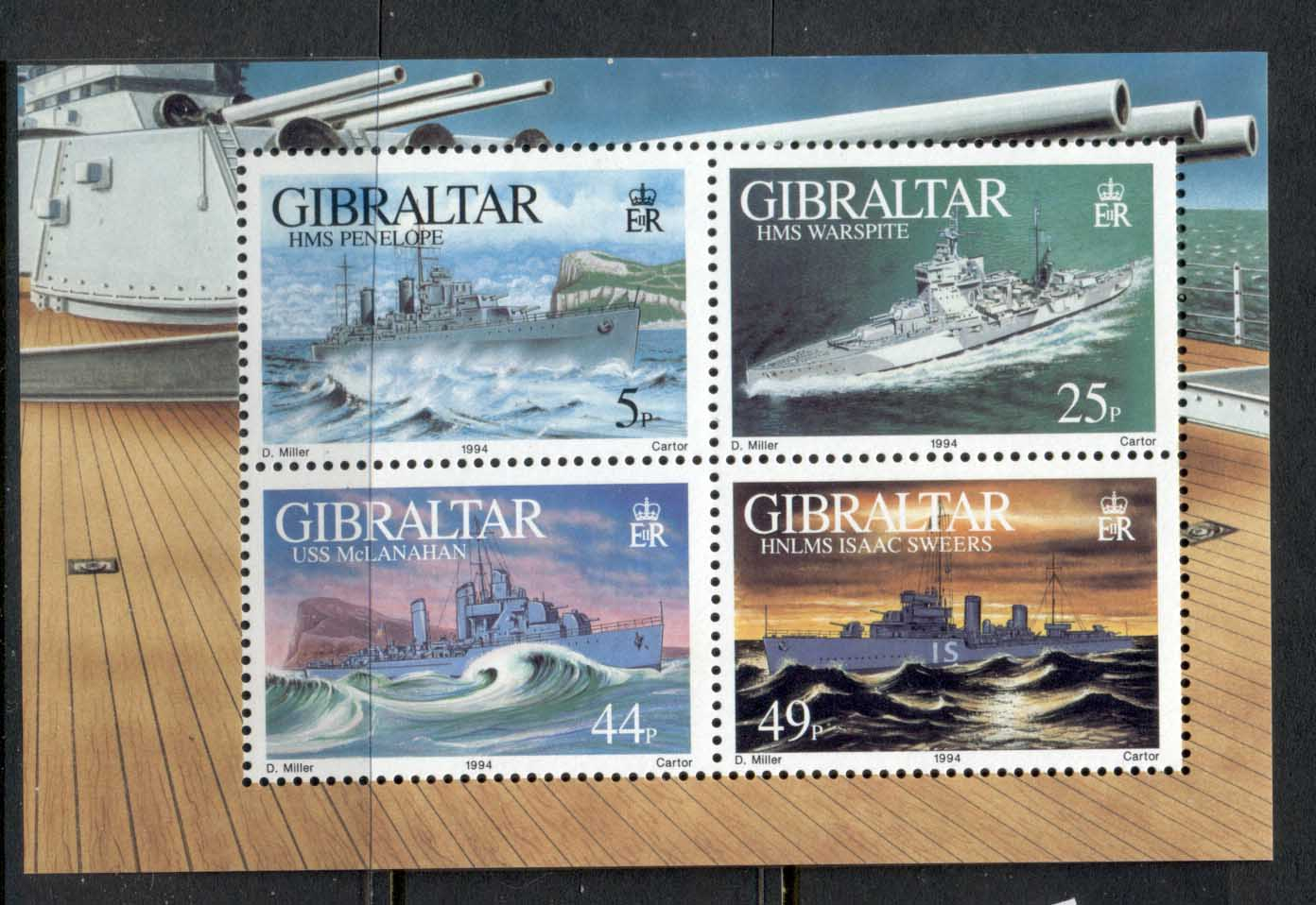 Gibraltar 1994 WWII Warships MS MLH