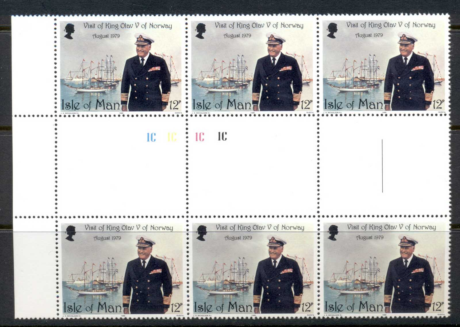 Isle of Man 1980 Visit of King Olav V of Norway gutter blk6 MLH/MUH