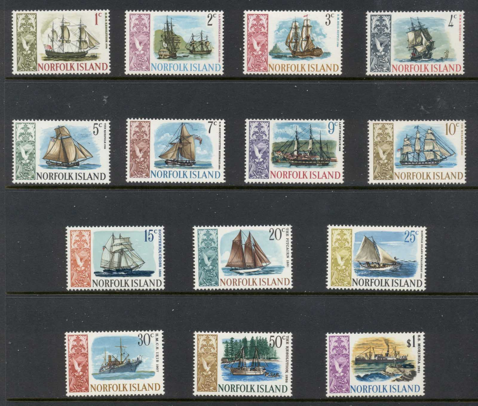 Norfolk Is 1967-68 Pictorials, Ships MLH