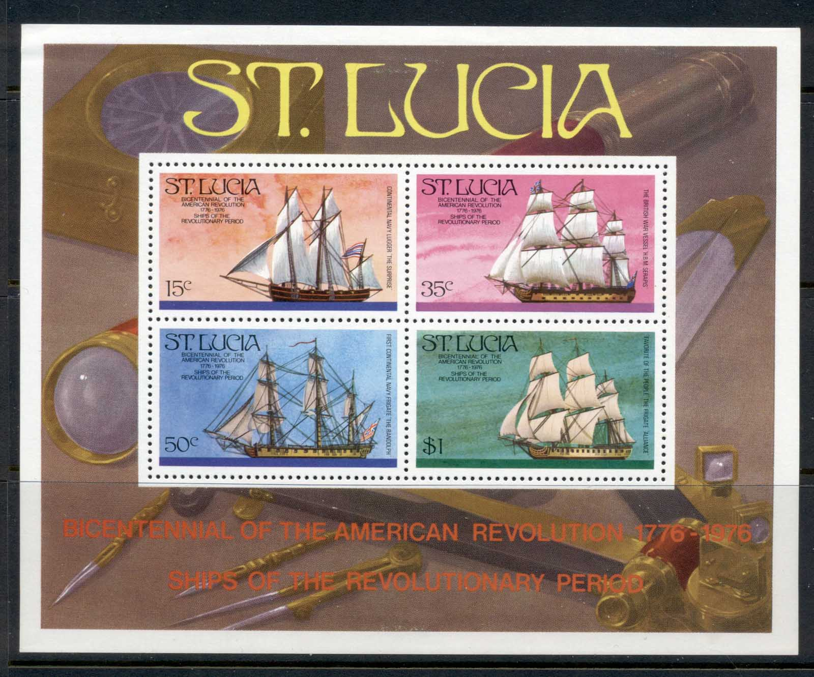 St Lucia 1976 American Bicentennial, Ships MS MLH