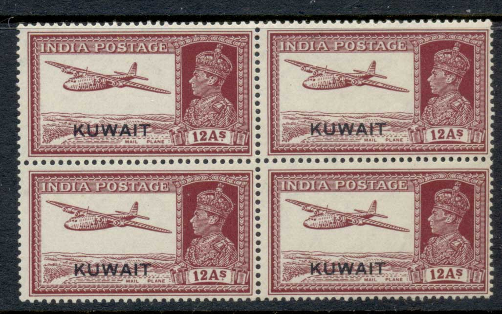 Kuwait 1945 KGVI India Opt 12a blk4 MLH/MUH
