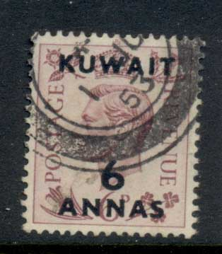 Kuwait 1948-49 KGVI Opt 6a on 6d FU