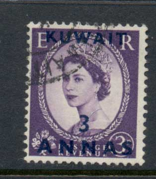 Kuwait 1952-54 QEII Wilding Opt 3a on 3d FU