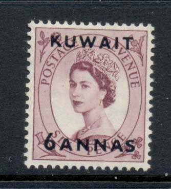 Kuwait 1952-54 QEII Wilding Opt 6a on 6d MLH