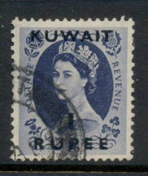 Kuwait 1952-54 QEII Wilding Opt 1r on 1/- FU