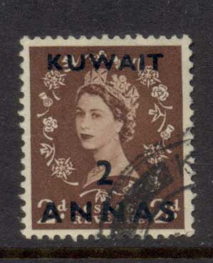 Kuwait 1956 QEII Wilding Opt 2a on 2d FU