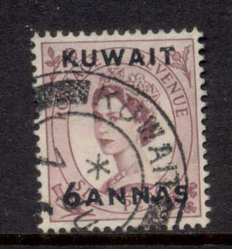 Kuwait 1956 QEII Wilding Opt 6a on 6d FU