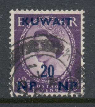 Kuwait 1957-58 QEII Wilding Opt 20np on 3d FU