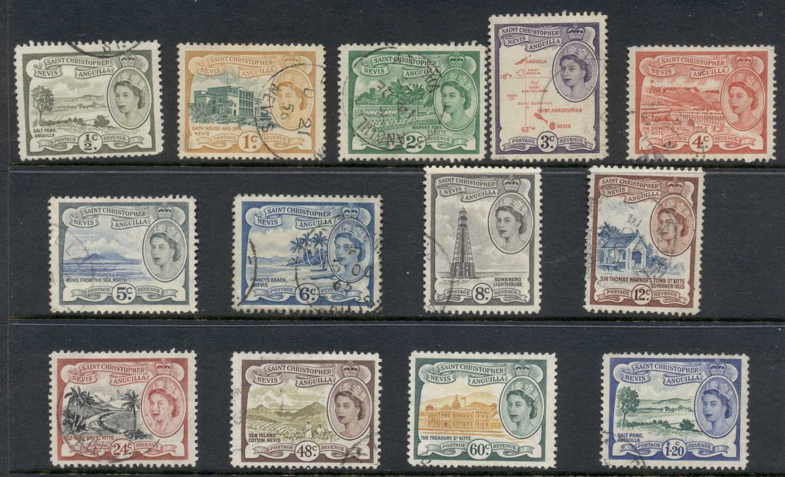 St Christopher Nevis Anguilla 1954-57 QEII Pictorials to $1.20 FU