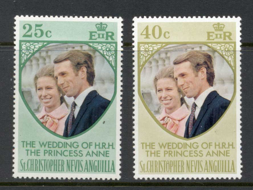 St Christopher Nevis Anguilla 1973 Royal Wedding Princess Anne MUH