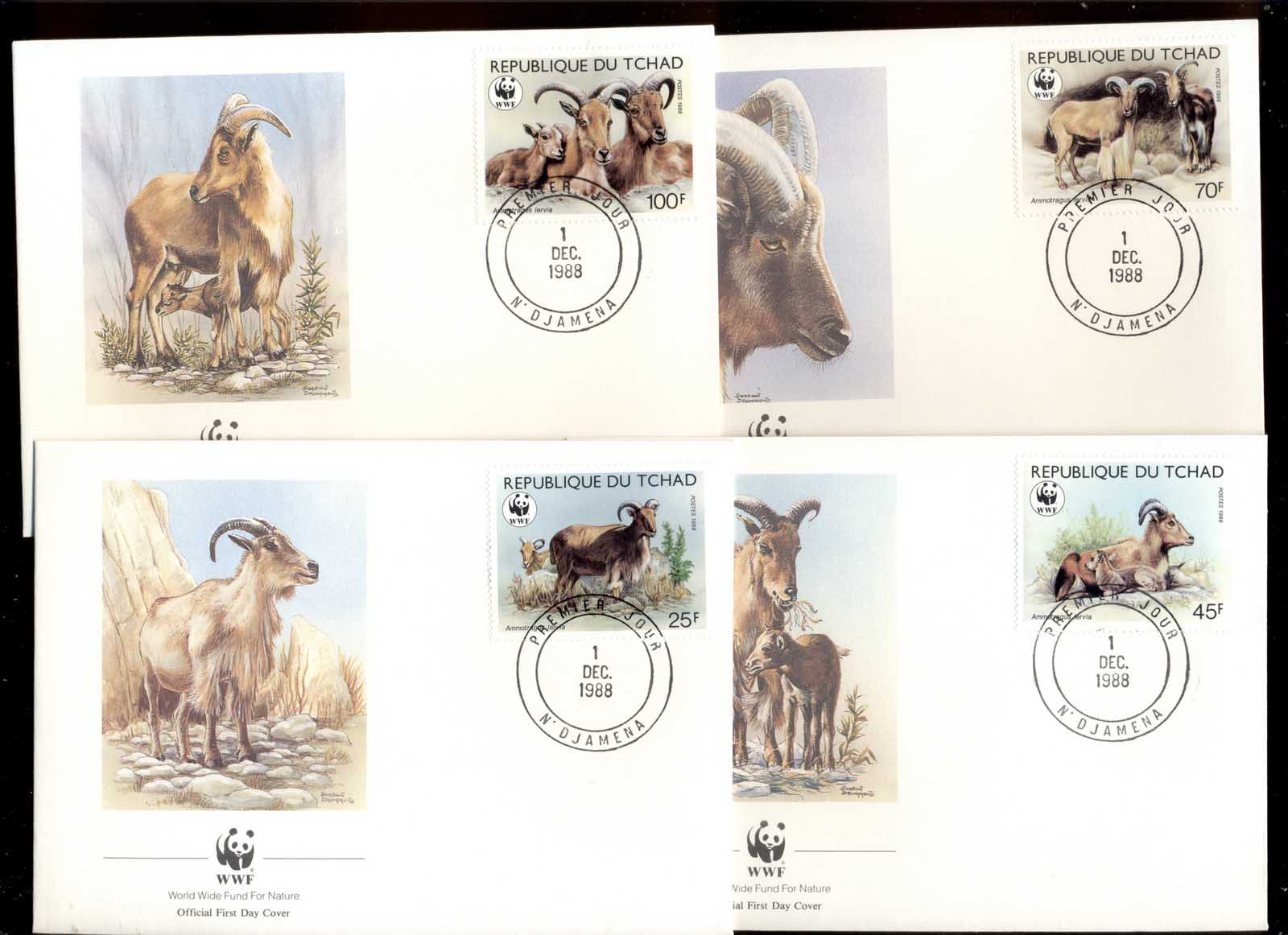 Chad 1988 WWF Barbary Sheep 4xFDC